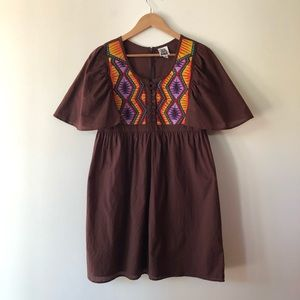 Ivy Jane Brown Embroidered Tunic Dress size M